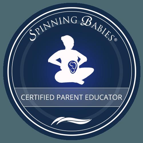 Spinning babies blå logo må kun bruges af Spinning Babies certified parent educator uddannet